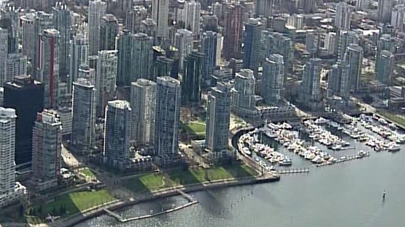 Condo buildings in Vancouver's Coal Harbour neighourhood are seen in this March 2013 file photo. (CTV/Chopper 9)