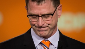 B.C. NDP Leader Adrian Dix pauses while addressing supporters after the Liberal Party was projected to win a majority government in Vancouver, B.C., on Tuesday May 14, 2013. (Darryl Dyck / THE CANADIAN PRESS)