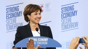 Premier Christy Clark delivers her victory speech in Vancouver on Tuesday, May 14, 2013.