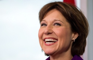 British Columbia Premier Christy Clark smiles during a news conference at her office in Vancouver, B.C., on Wednesday May 15, 2013. (Darryl Dyck / THE CANADIAN PRESS)