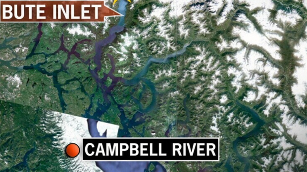 A map shows the Bute Inlet area northeast of Campbell River and Quadra Island.