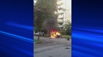 A Toyota exploded in Vancouver's West End on May 22, 2013.
