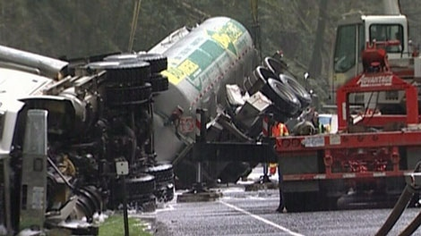 A fuel tanker crashed in Goldstream Provincial Park on April 16, 2011. (CTV)