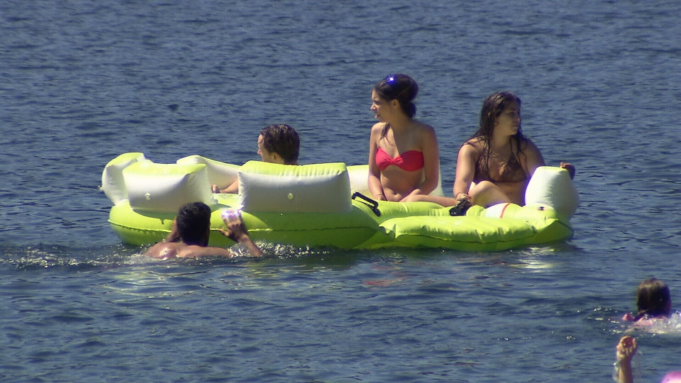Swimmers relax on a B.C. lake, in a year that's seen double the amount of drownings. (CTV)