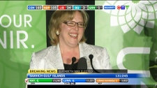 Green Party Leader Elizabeth May made history Monday, defeating longtime Tory cabinet minister Gary Lunn in B.C. to achieve her party's first federal election victory. Monday, May 2, 2011.