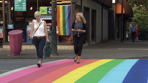 a rainbow crosswalk