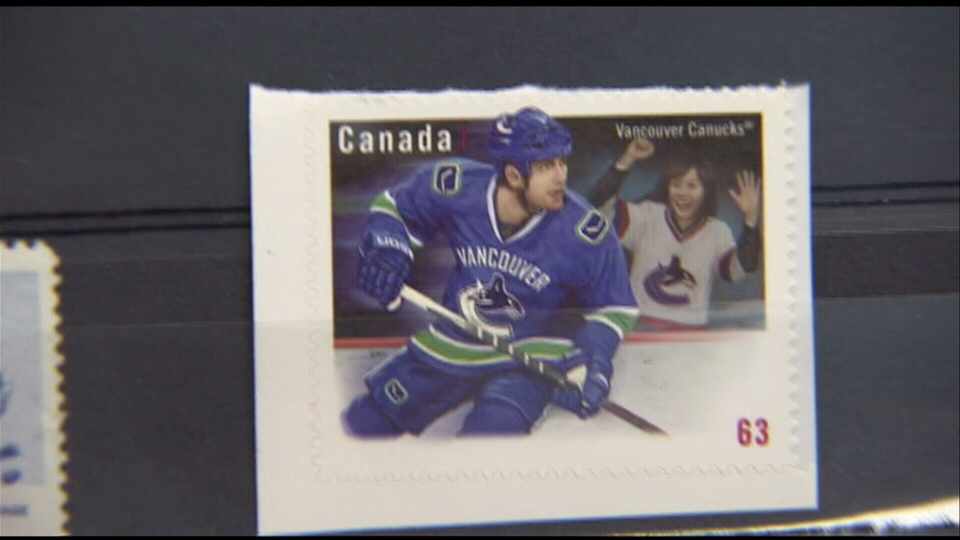 Collector Brian Grant Duff says a new Canada Post stamp featuring the Vancouver Canucks appears to depict Todd Bertuzzi. Sept. 5, 2013 (CTV)