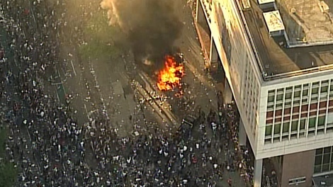 Raging Canucks fans started a fire on Georgia Street after their team lost the Stanley Cup to the Boston Bruins. June 15, 2011. (CTV)