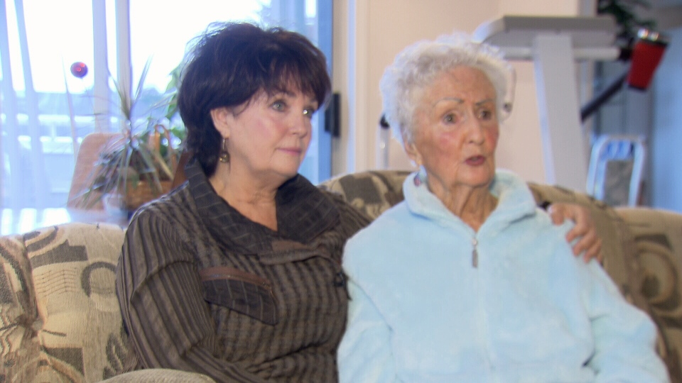 Paddy Munro speaks to CTV News with her mother Vivian Fitzpatrick on Oct. 2, 2013.  The 90-year-old was sent home in a taxi in the middle of the night, shoeless and bleeding.