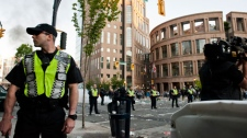 Police patrol near the main library in Vancouver during the Stanley Cup riot. June 15, 2011. (Janessa Kucey/special to ctvbc.ca)