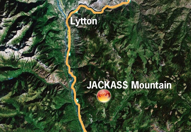 A forest fire on Jackass Mountain near Lytton, B.C., disrupted traffic on the Trans-Canada Hwy., Monday.