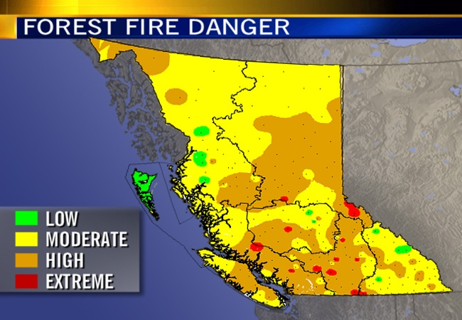 A map, showing the areas of British Columbia where forest fires are most likely to occur.