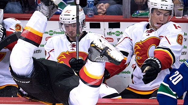 The Flames and the Canucks drop the gloves