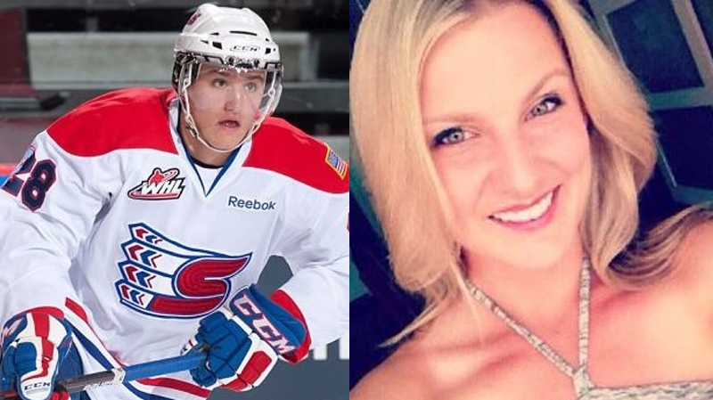 Tieja MacLaughlin, right, is being held in a U.S. jail under allegations of harassing and threatening her former boyfriend, 19-year-old Tri-City Americans hockey player Jackson Playfair. Jan. 22, 2014. (AMSHockey.com & Twitter)