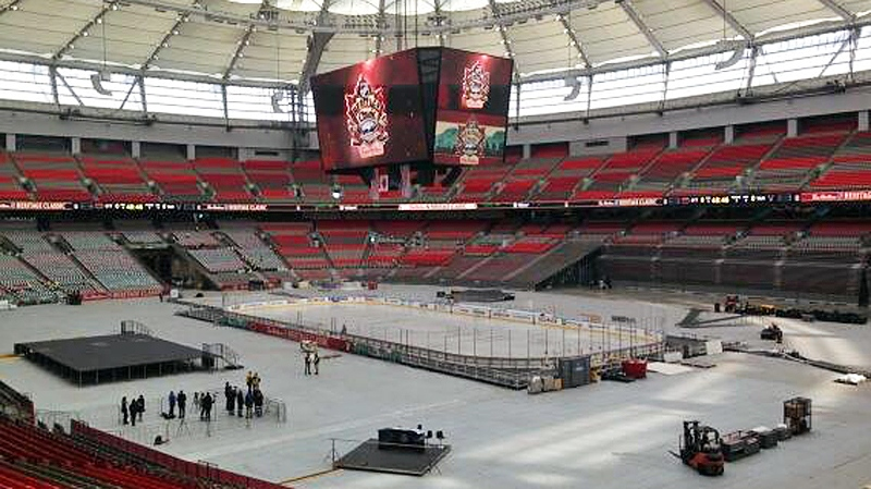 Crews work to transform BC Place into a giant ice rink for the 2014 Heritage Classic. Feb. 26, 2014. (CTV)
