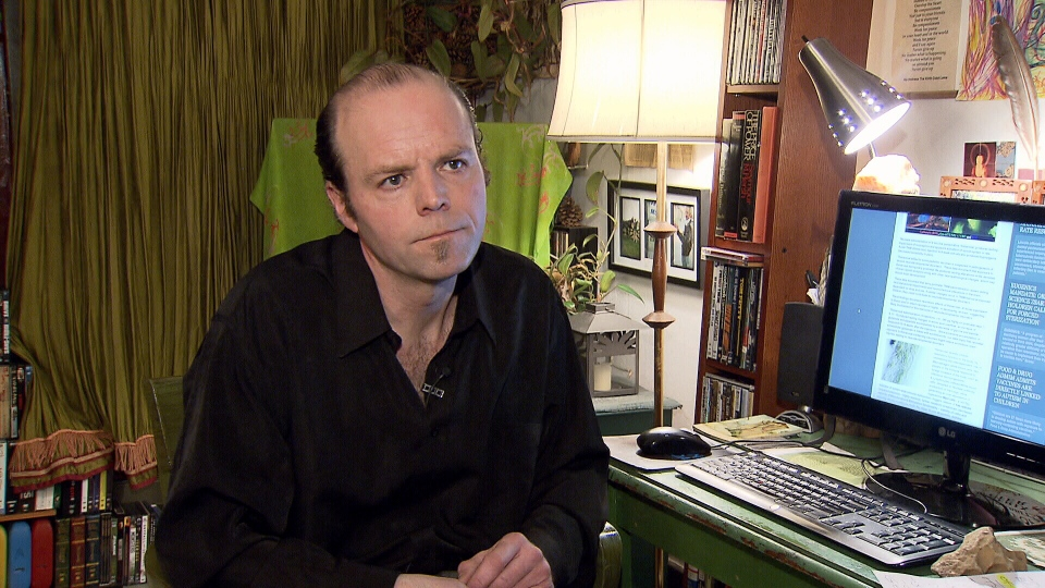 Joel Lord operates the Vaccine Resistance Movement website from his East Vancouver home. (CTV)