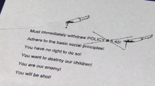 A Burnaby teacher received this threatening letter in June regarding the local school board's policy targeting homophobia. Nov. 3, 2011. (CTV)