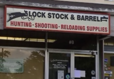 Thieves stole firearms from this New Westminster, B.C. gun store on Monday.  August 12, 2008.