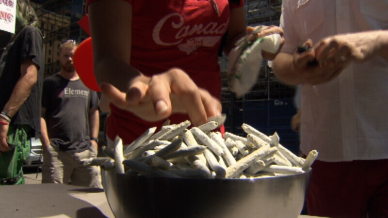 Hash brownies and fudge, dimebags and joints were all available for sale at the open-air pot market in downtown Vancouver. (CTV)