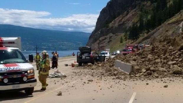 Rock slide hospitalized 2 forced okanagan highway closure for Landscaping rocks windsor ontario