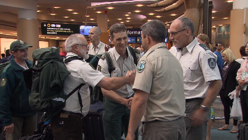 B.C. wildfire officials greet Australian wildfire fighters as they arrive at YVR (CTV)