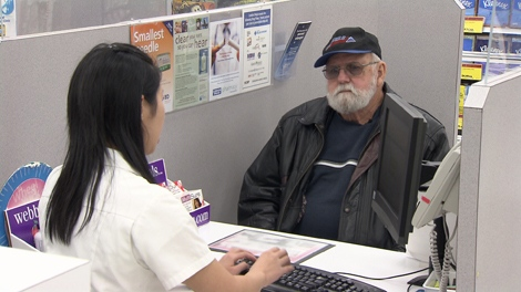 Senior Ralph Lyons acted as roving reporter for Lynda Steele as he visited Surrey pharmacies to determine dispensing fees. (CTV)