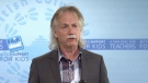 B.C. Teachers' Federation president Jim Iker holds a press conference hours after reaching a tentative agreement with the province. Sept. 16, 2014.