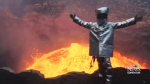 Video goes viral of man standing in active volcano