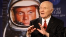 "Sen. John Glenn talks, via satellite, with the astronauts on the International Space Station, before the start of a roundtable discussion titled ""Learning from the Past to Innovate for the Future"" Monday, Feb. 20, 2012, in Columbus, Ohio. (AP / Jay LaPrete)"