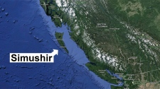 Russian container ship Samushir is adrift near the