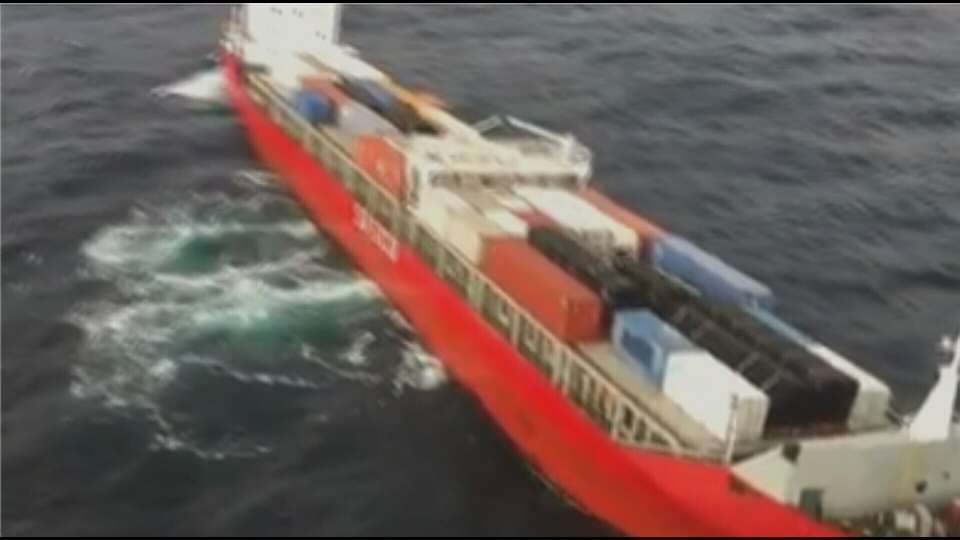 A Canadian Coast Guard ship has so far been unable to tow the Russian container ship away from shore.