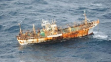 A Japanese fishing vessel lost during the 2011 tsunami was spotted off B.C.'s Haida Gwaii on March 21, 2012. (Transport Canada)