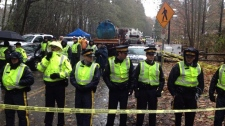 kinder morgan pipeline work begins burnaby mountai