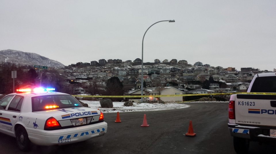 Kamloops RCMP cordoned off part of a neighbourhood at Batchelor and North River Drive after a Mountie was shot early Wed., Dec. 3, 2014. (CTV)
