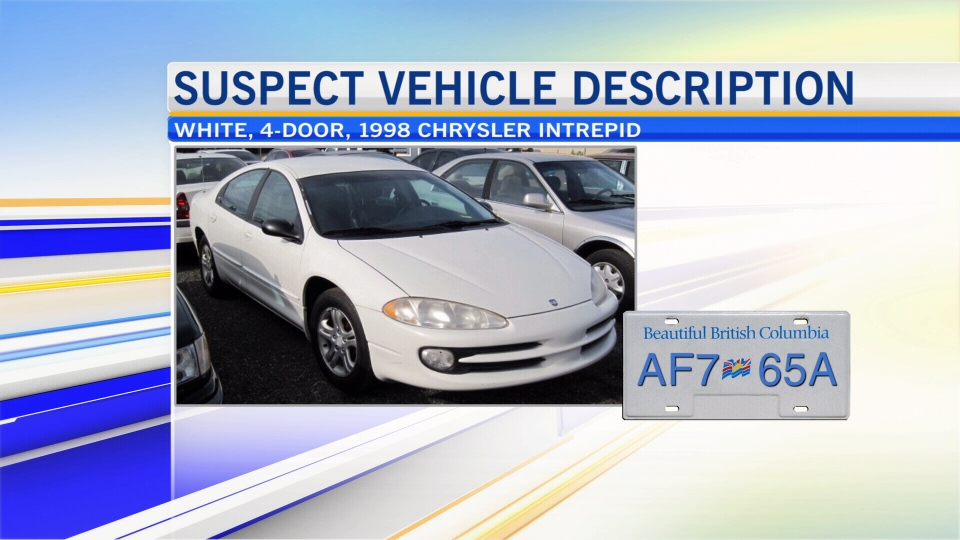 Police say they're looking for a 1998, four-door, white Chrysler Intrepid with B.C. license plate AF765A.