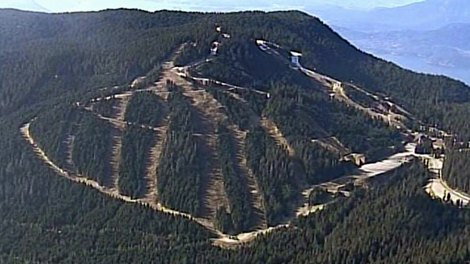 Bare ski runs on Cypress Mountain are seen from CTV's Chopper 9 helicopter. Feb. 24, 2015.