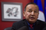 Grand Chief Stewart Phillip, president of the Union of B.C. Indian Chiefs, speaks at a news conference in Vancouver, B.C., in this February 2015 file photo. (Darryl Dyck / The Canadian Press)