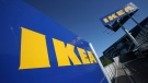 This is a Wednesday, June 18, 2008 file photo of the Ikea logo is shown on the side of the warehouse-sized store during the grand opening of New York City's first Ikea. (AP /Mark Lennihan)