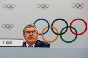 In this file photo, International Olympic Committee President Thomas Bach speaks at a press conference after the 128th IOC session in Kuala Lumpur, Malaysia Monday, Aug. 3, 2015. (AP / Joshua Paul)