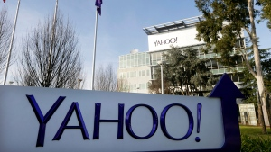 Signage outside Yahoo's headquarters in Sunnyvale, Calif., on Jan. 14, 2015. (AP / Marcio Jose Sanchez)