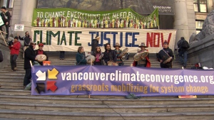 Thousands of people gathered at the Vancouver Art Gallery to call for action on climate change ahead of the United Nations conference that begins Monday in Paris. (CTV Vancouver)