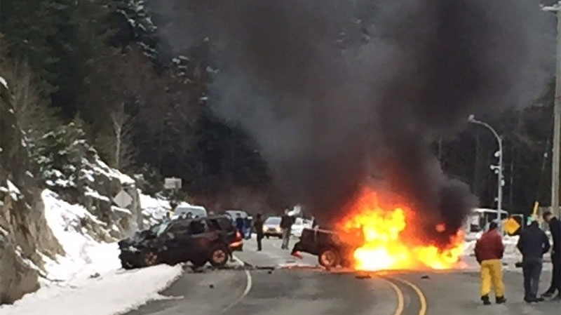 fiery fatal head on crash closes sea to sky highway near. Black Bedroom Furniture Sets. Home Design Ideas