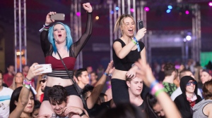 Thousands of partiers returned to Vancouver's BC Place on Sunday for the second day of the Contact Music Festival, with performances from Hardwell, DJ Snake, Oliver Heldens and more. Dec. 27, 2015. (Kenny Tai/CTV)
