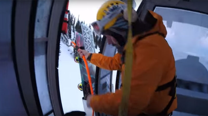 About 75 people were trapped after a gondola went on the fritz Sunday at Kicking Horse Mountain Resort, and some had to be rescued by helicopter long line. Jan. 3, 2015. (YouTube)