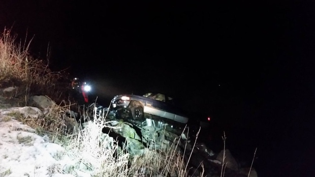 Two eighteen-year-old men are dead after their pick-up truck veered off the road and plunged into the Fraser River in Chilliwack. Jan. 10, 2016. (Handout).