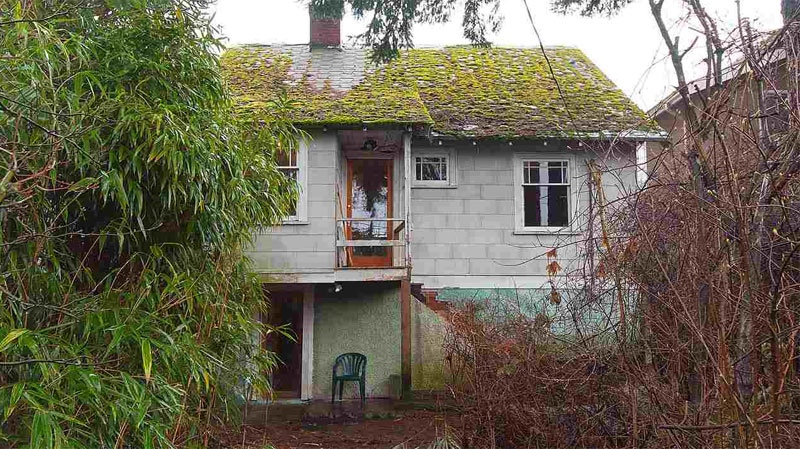 The run-down residence in Point Grey has an overgrown yard, broken window frames, peeling paint and scuffed floors. (Kavanagh Group)