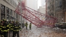 A collapsed crane lies on the street, in New York on Friday, Feb. 5, 2016. (AP / Bebeto Matthews)