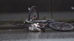A cyclist that suffered critical injuries after being hit by a semi-truck on Friday has died, police confirmed. Feb. 6, 2015. (CTV News).