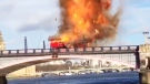 Caught on Cam: Movie prop bus explodes in flames