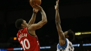 Toronto Raptors guard DeMar DeRozan shoots the ball against Minnesota Timberwolves forward Andrew Wiggins in the second half of an NBA basketball game in Minneapolis on Wednesday, Feb. 10, 2016. (AP / Stacy Bengs)